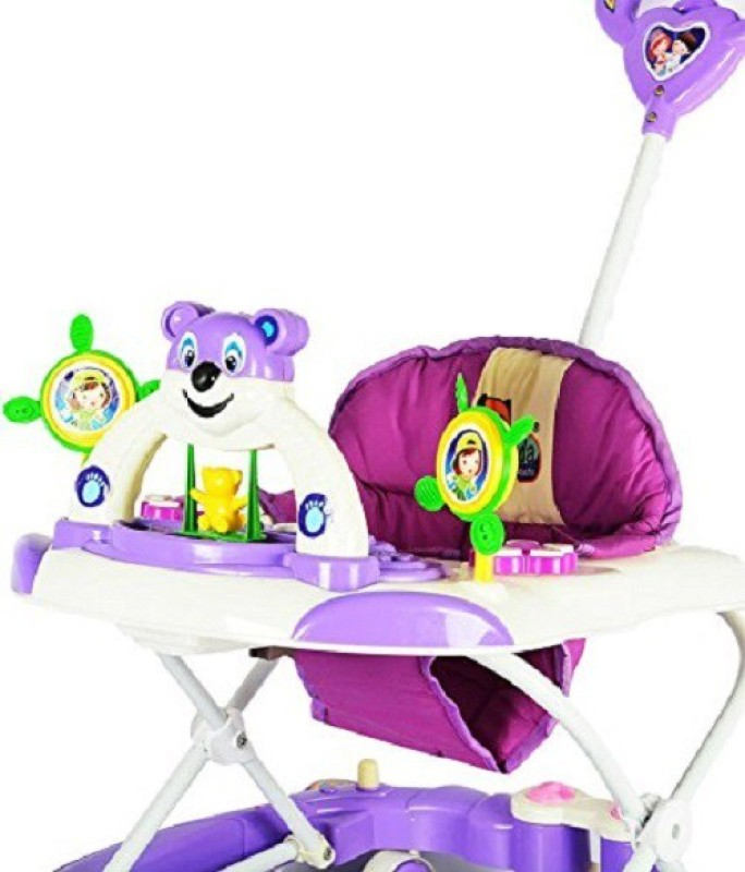 Panda Adjustable Rocker N Walker Musical With Handle(Purple, White)