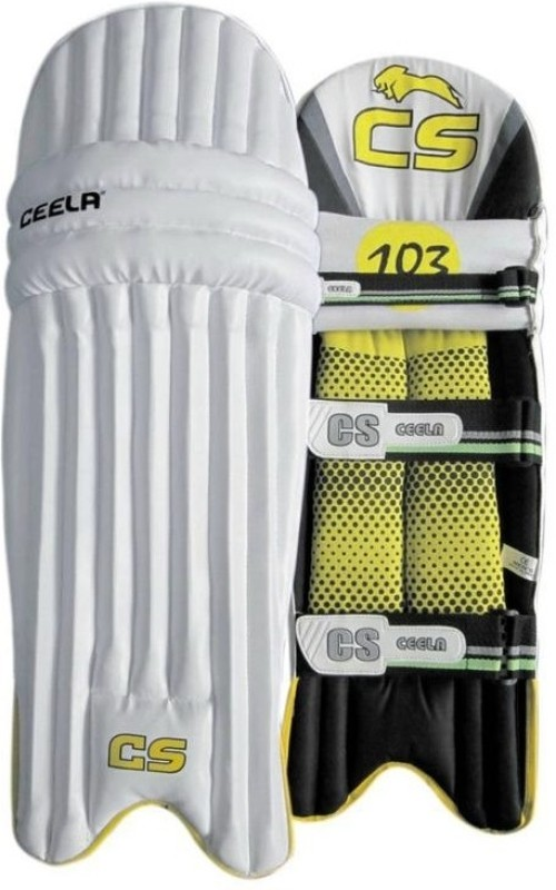 Ceela Sports Test Boys (32 - 35 cm) Boys Batting Pad(White, Yellow, Ambidextrous)