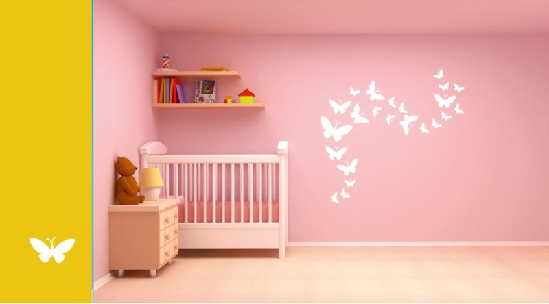 Asian Paints Wall Stories Butterfly DIY Stencil Kit - White L152 Paint Roller(Pack of 8)