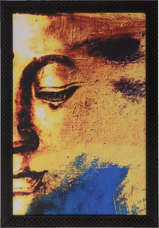 eCraftIndia Abstract Buddha Satin Matt Texture UV Canvas 20 inch x 14 inch Painting