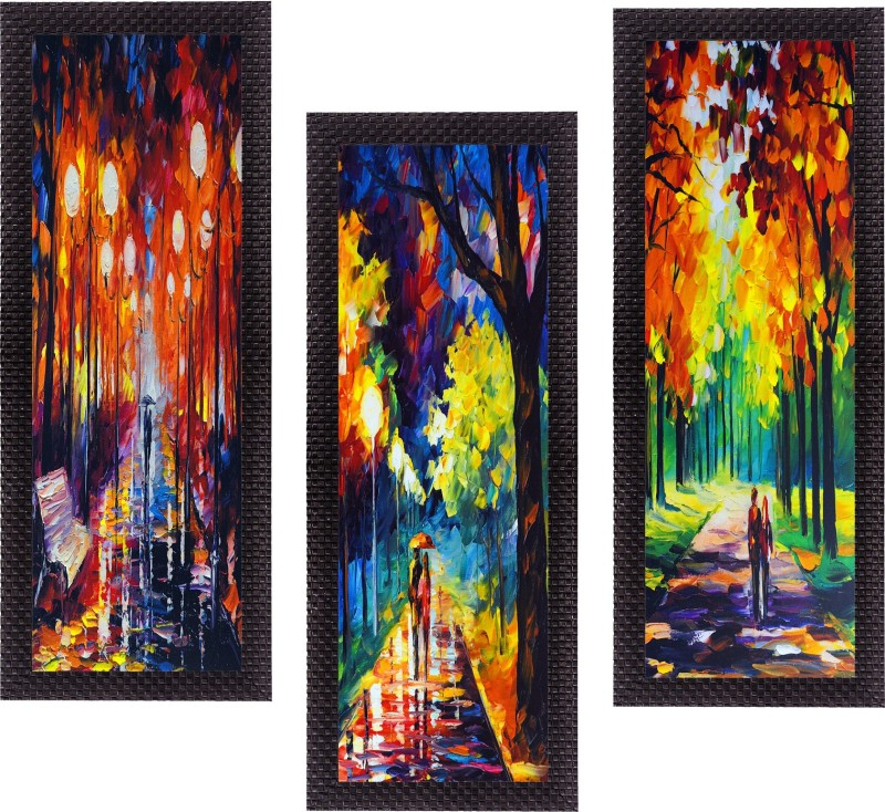 eCraftIndia Set Of 3 Beautiful Loving Couple Satin Matt Textured Canvas 16 inch x 21 inch Painting