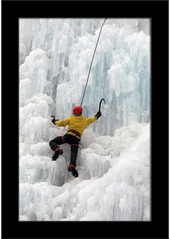 Artzfolio Ice Climber On Steep Frozen Waterfall Framed Art Print Digital Reprint Painting(10.8 inch x 7.0 inch)