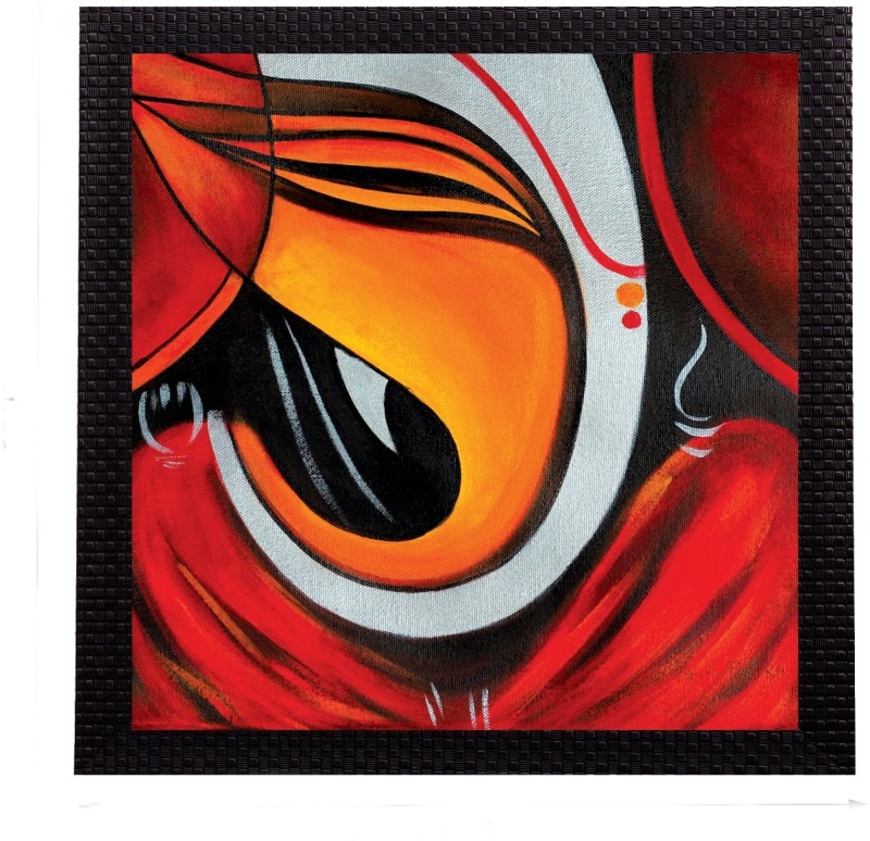 eCraftIndia Powerful Lord Ganesha Satin Matt Textured UV Canvas 10 inch x 10 inch Painting