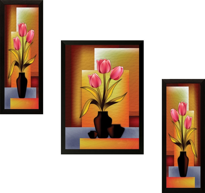 SAF Set of 3 Flowers Digital Reprint Painting(14 inch x 20 inch)