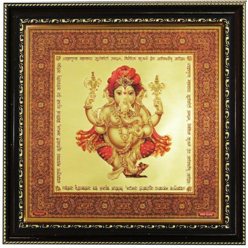 1 Art Junction Handicaft Gift Set Ganesha in Golden Foil Oil Painting(11 inch x 11 inch)