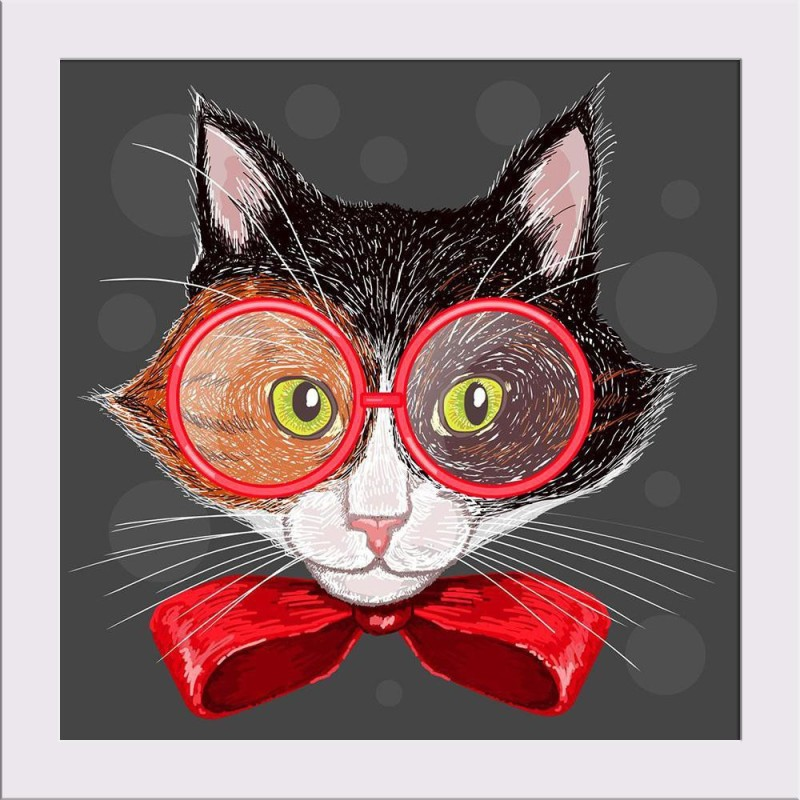 Artzfolio Portrait Of A Calico Cat In Red Glasses And A Bow Framed Art Print Digital Reprint Painting(11.0 inch x 11.0 inch)