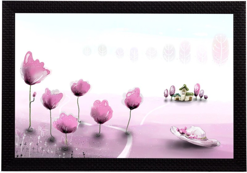 eCraftIndia Pink Floral Satin Matt Textured UV Art Canvas 10 inch x 14 inch Painting