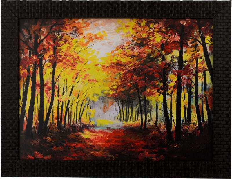 eCraftIndia Fall Season Scenary View Satin Matt Texture UV Canvas 11 inch x 14 inch Painting