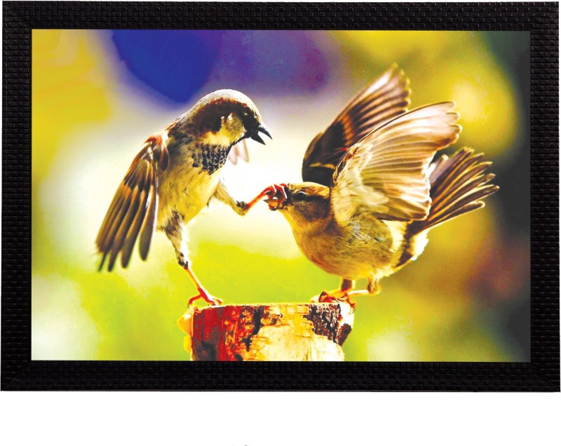 eCraftIndia Playful Birds Satin Matt Textured UV Art Canvas 14 inch x 20 inch Painting