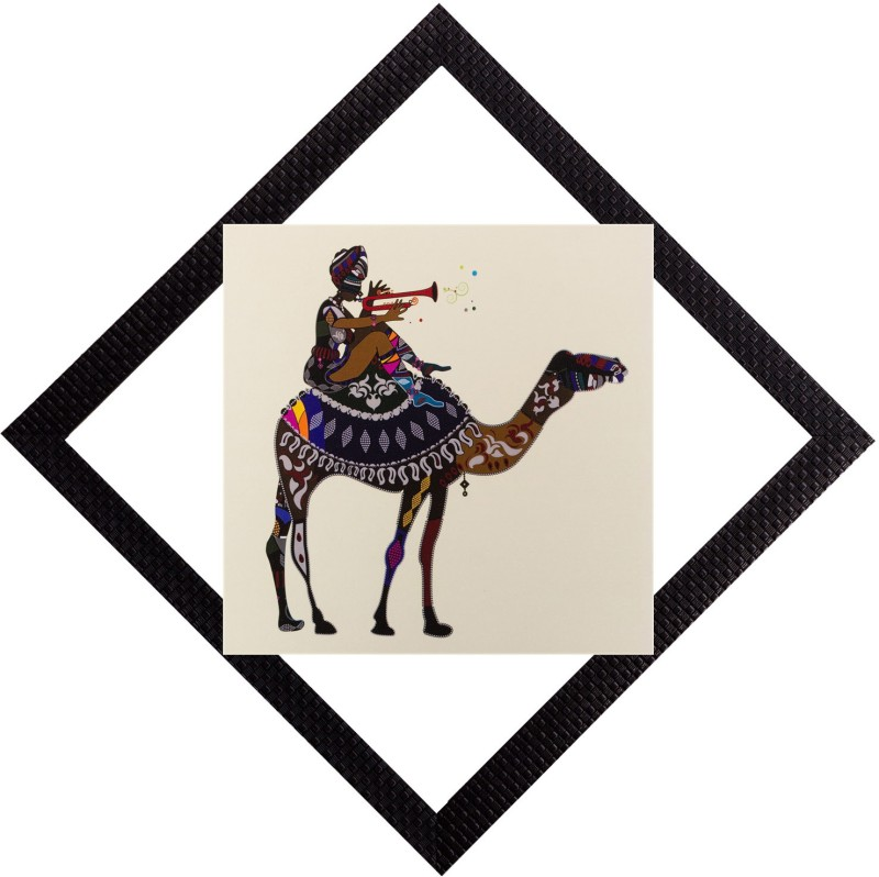 eCraftIndia Decorated Camel Satin Matt Textured UV Art Canvas 12 inch x 12 inch Painting