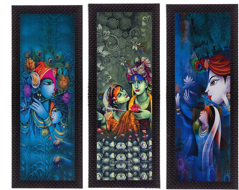 eCraftIndia Set Of 3 Radha Krishna Satin Matt Textured Canvas 16 inch x 21 inch Painting