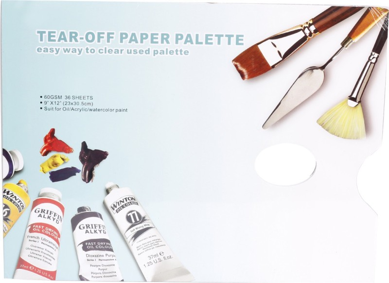 Kabeer Art Solid Paper 0 Paint Wells Palettes(Set of 1, White)