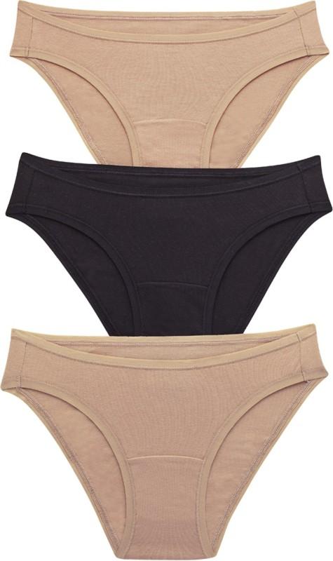 Amante Womens Bikini Beige, Black Panty(Pack of 3)