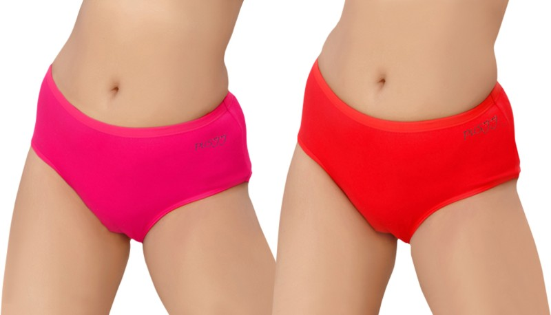 Pusyy Women's Hipster Pink, Red Panty(Pack of 2)