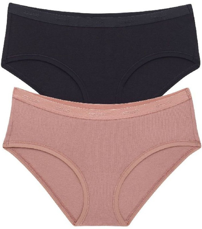 Amante Womens Hipster Beige, Black Panty(Pack of 2)