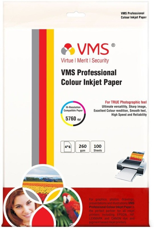 VMS 4*6 Professional Colour Inkjet 260gsm Photo Paper(Set of 100, White) 4*6 Professional 260gsm