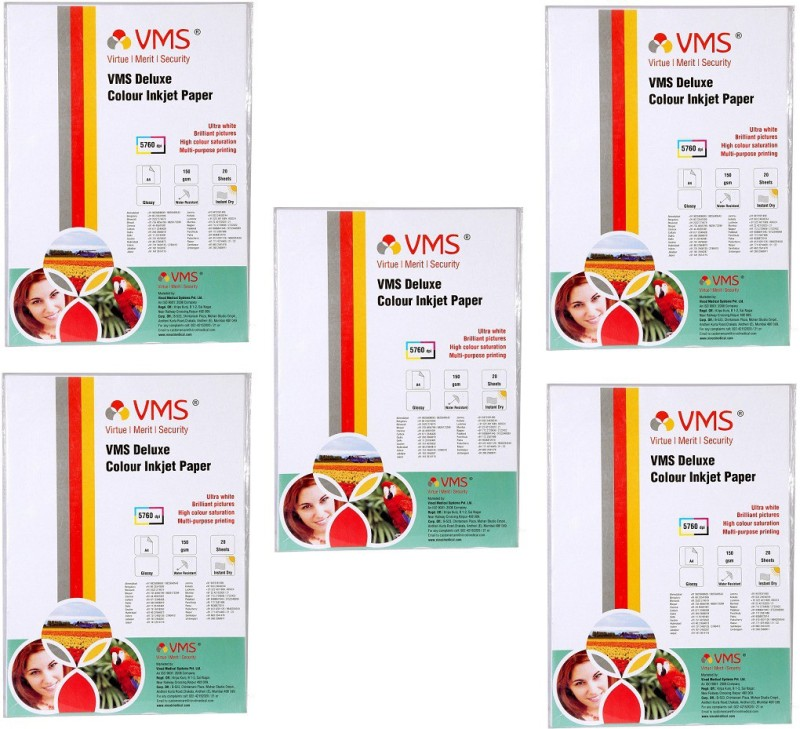 VMS A4 Deluxe Color Inkjet Glossy Power of 5Pkt. 100Sheets 150gsm Photo Paper(Set of 5, White) Pack of 5 A4 Deluxe Color Inkjet Glossy 150gsm