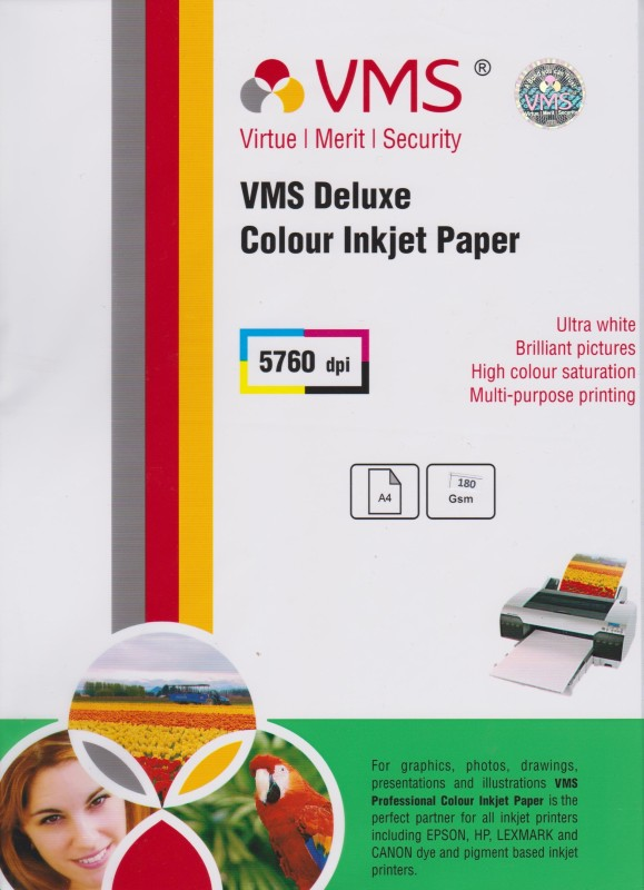 VMS A4 Deluxe Color Inkjet Glossy 180gsm Photo Paper(Set of 1, White) A4 Deluxe Color Inkjet 180gsm