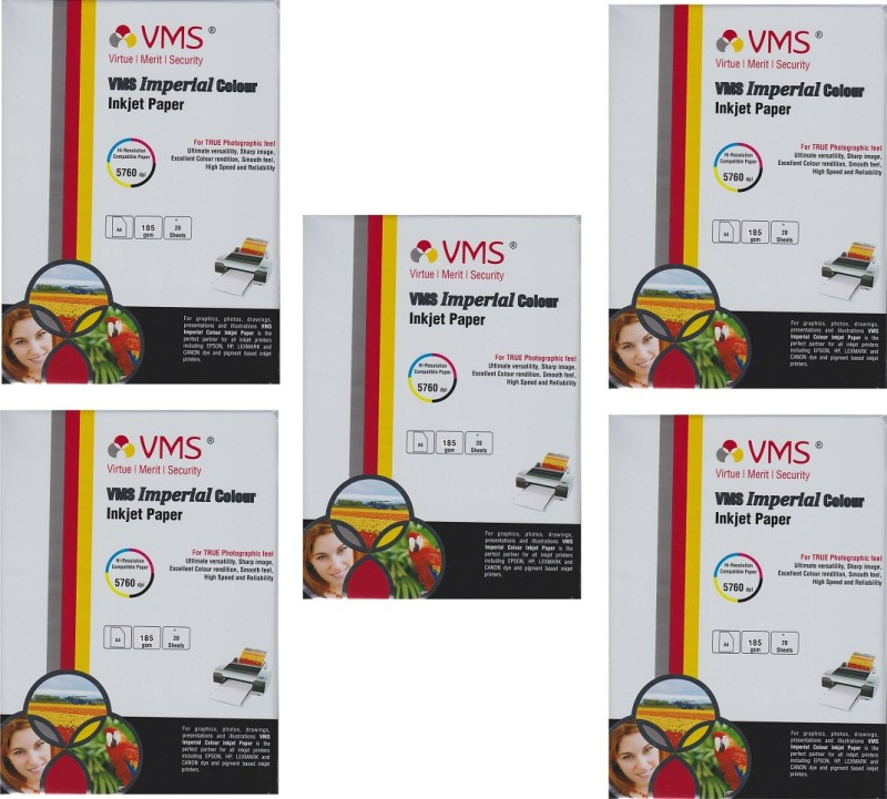 VMS A4 Imperial Color Inkjet Glossy Power of 5Pkt. 100Sheets 185gsm Photo Paper(Set of 5, White) A4 Imperial Color Inkjet Glossy 185gsm Pack of 5