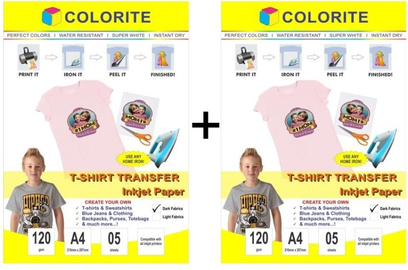 Colorite 120gsm Tshirt Dark Fabrics Inkjet Unruled A4 Transfer Paper(Set of 2, White)