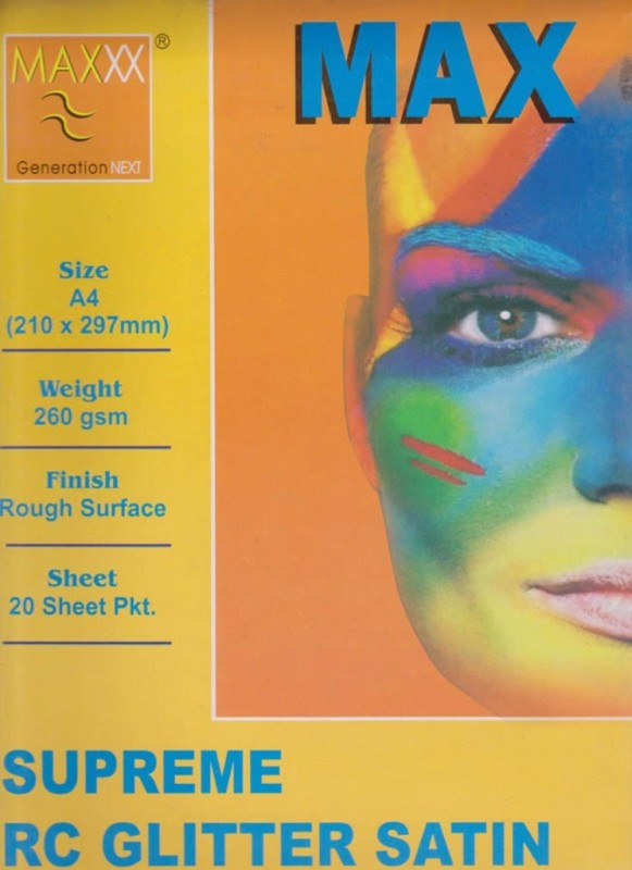 Max A4 Supreme RC Glitter Satin 260gsm Photo Paper(Set of 1, White) Supreme RC Glitter Satin_1