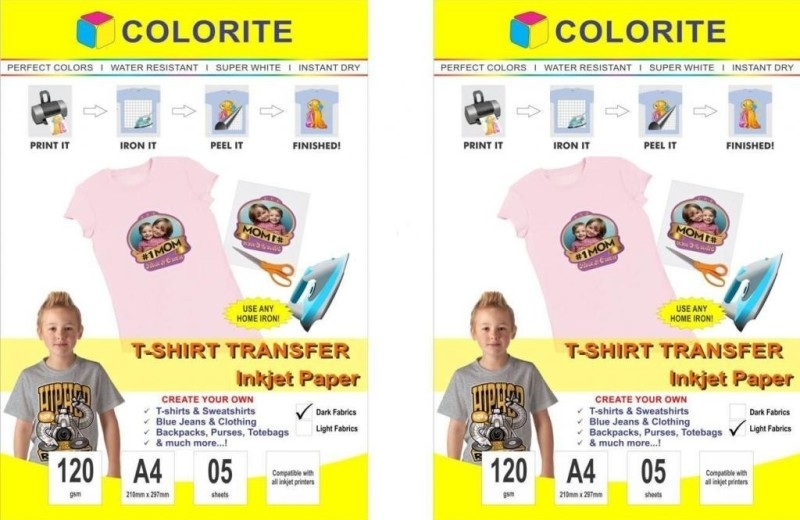 Colorite 120gsm Tshirt Light Plus Dark Fabrics Inkjet Unruled A4 Transfer Paper(Set of 2, White)
