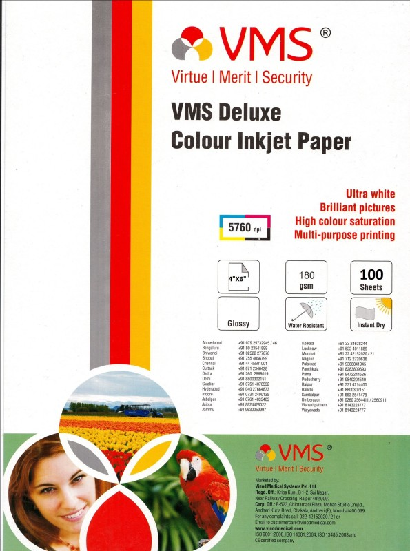 VMS 4*6 Deluxe Color Inkjet Glossy 180gsm Photo Paper(Set of 100, White) Deluxe Color Inkjer