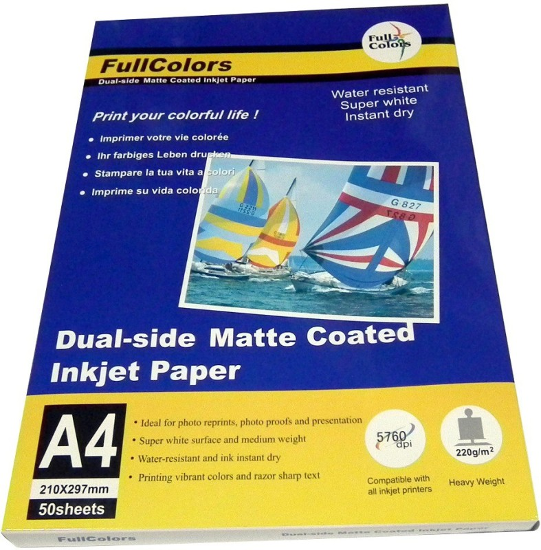 Full Colors Matte Coated Unruled A4 Photo Paper(Set of 1, White) 220GSM Dual Side Matte Coated Paper