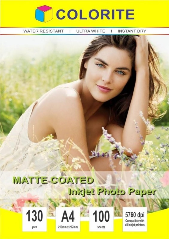 Colorite 130gsm Sheets Matte Coated Paper Inkjet Unruled A4 Printer Paper(Set of 1, White)