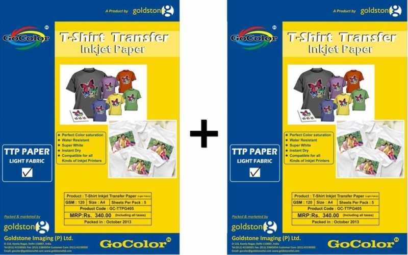 Gocolor TShirt Transfer 120 GSM - 5 Sheets Inkjet Photo Paper For Light Fabrics x 2 Pack Unruled A4 Photo Paper(Set of 2, White) TTPN120G405x2