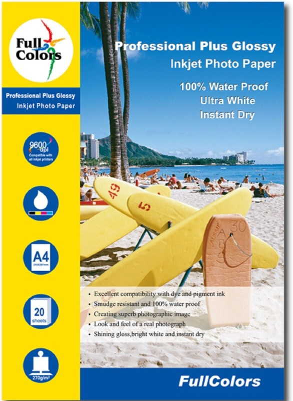 Full Color Professional Plus Glossy Water Proof Inkjet Papers A4 Photo Paper(Set of 1, White) B015GZRUGA