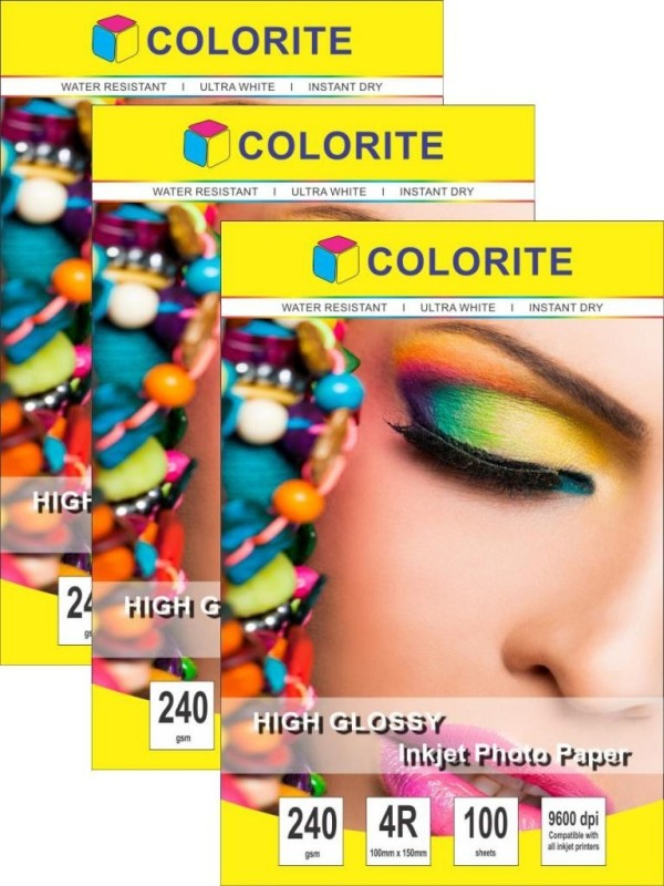 Colorite 240gsm Cast Coated Inkjet Unruled 4R Photo Paper(Set of 3, White) H2404r_100x3new