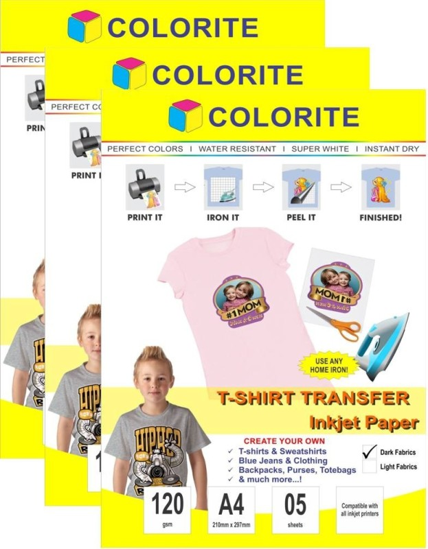 Colorite 120gsm Tshirt Dark Fabrics Inkjet Unruled A4 Transfer Paper(Set of 3, White)