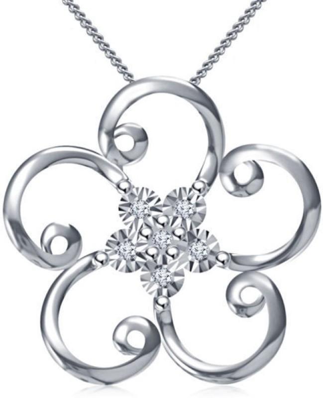 Devina Jewels Flower Shape Platinum Diamond Sterling Silver Pendant