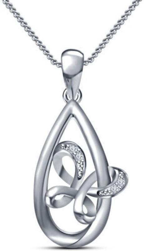 Devina Jewels Pear Shape Platinum Diamond Sterling Silver Pendant