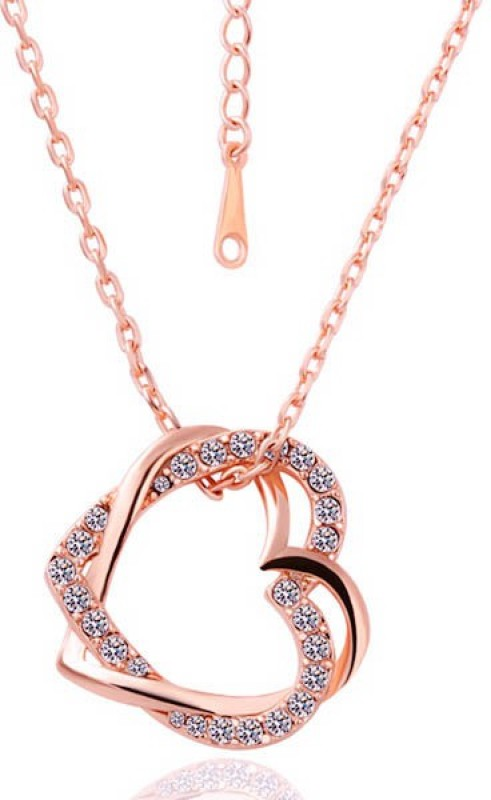 Yellow Chimes Embracing Hearts-In-Love Rose Gold Alloy Pendant