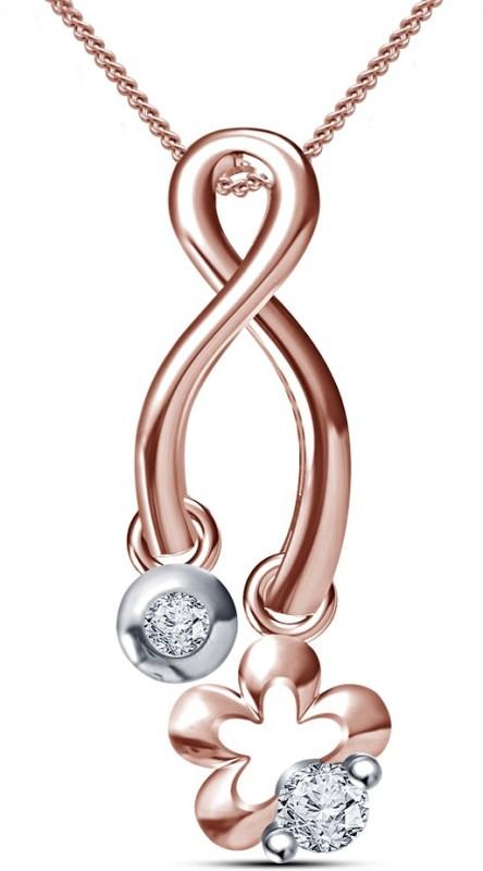 Kirati Flower Shape 14K Rose Gold Cubic Zirconia Sterling Silver Pendant