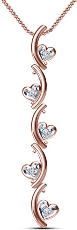 Kirati Journey Heart Shape 14K Rose Gold Cubic Zirconia Sterling Silver Pendant