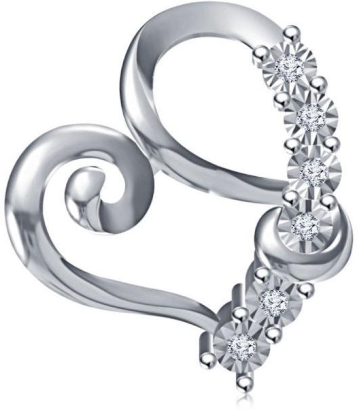 Devina Jewels Heart Shape Platinum Diamond Sterling Silver Pendant