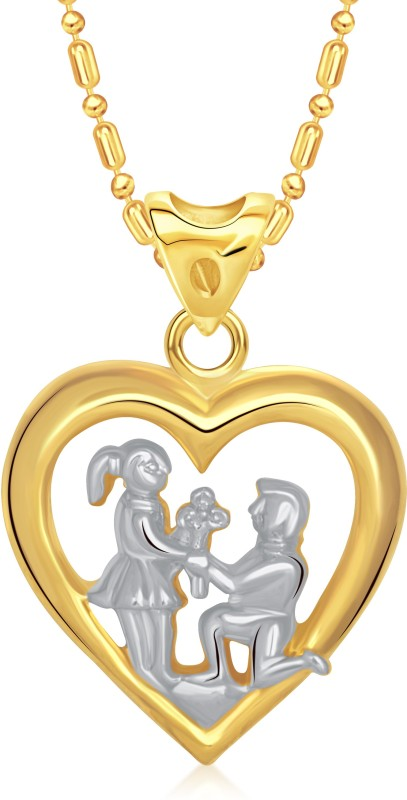 VK Jewels You & Me Heart Yellow Gold Cubic Zirconia Alloy Pendant