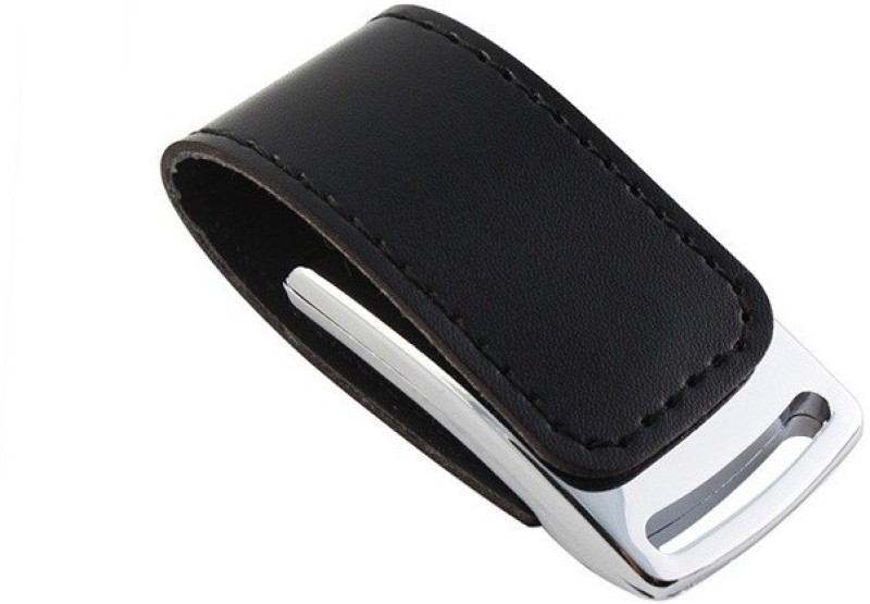 Eshop Stylist Leather Metal Chrome Casing USB Flash Drive 8 GB Pen Drive(Black)
