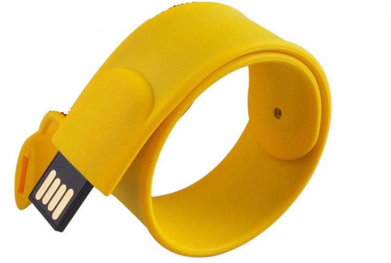 Eshop Fashionable Silicone Bracelet Shaped Wrist Band USB 8 GB Pen Drive(Yellow)
