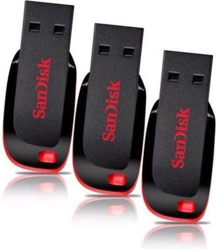 SanDisk Cruzer Blade USB Flash Drive (BLACK & RED) - 3Pc 8 GB Pen Drive(Black)