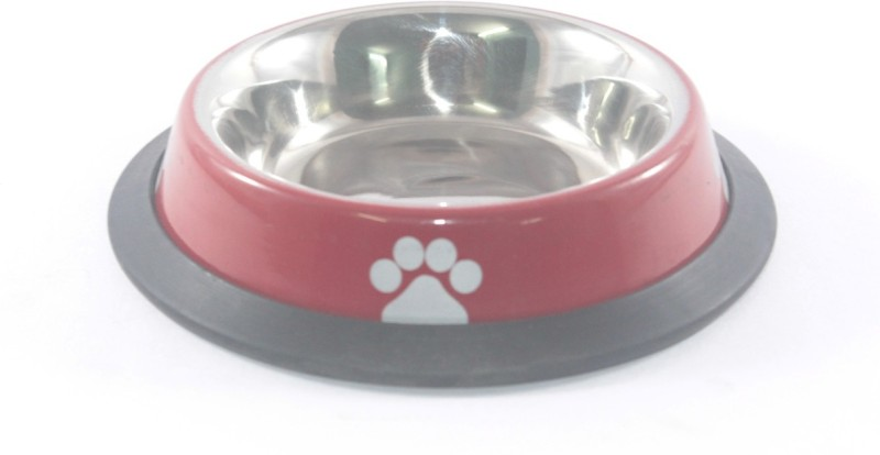 Clobber Round Stainless Steel Pet Bowl(250 ml Red)