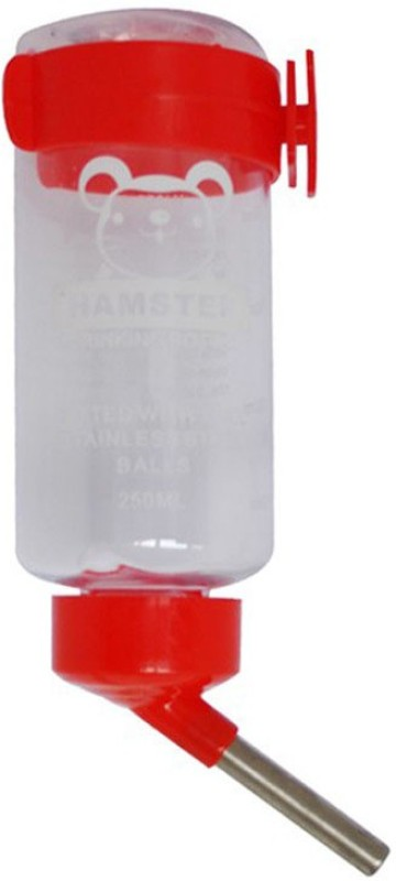 Anokhe Collections 125 ml Water for Hamster / Gerbil / Dwarf / Mice / Guinea Pig / Rabbit Round Plastic Pet Bottle(100 ml Red)