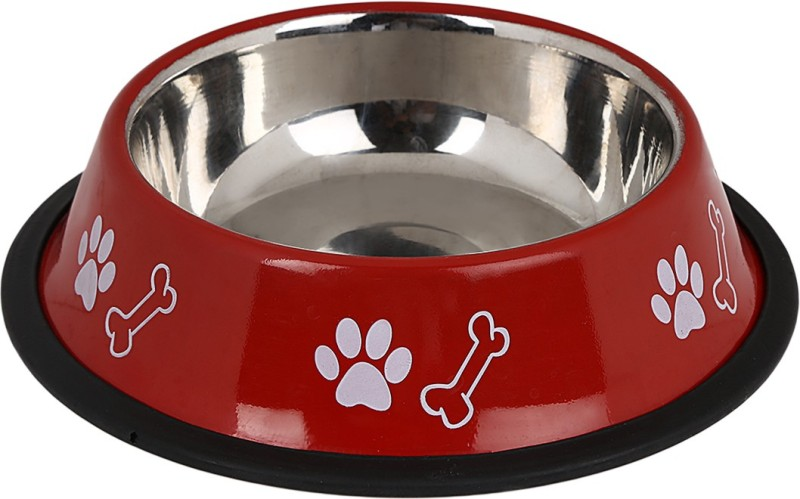 TommyChew Basic Charm Round Steel Pet Bowl(100 ml Red)
