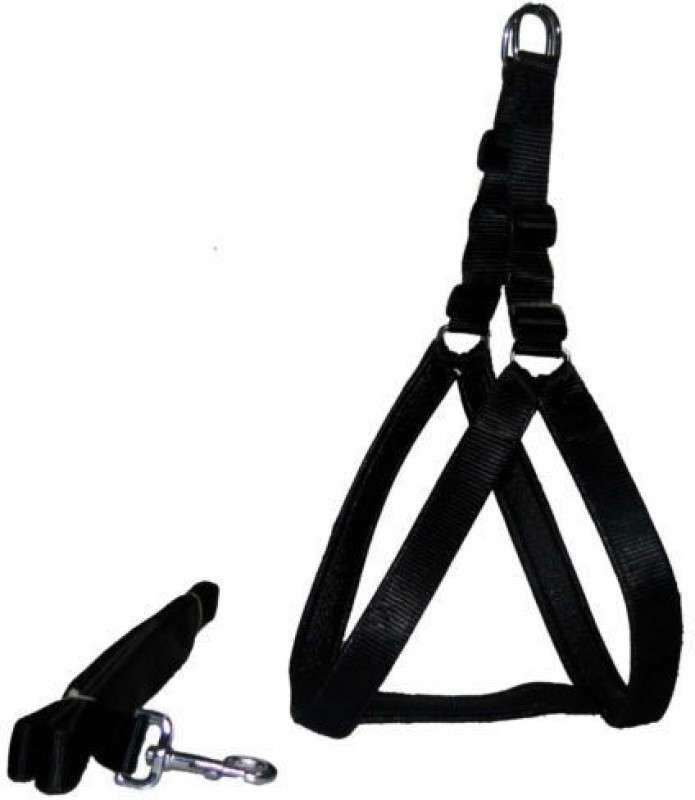 Petshop7 Nylon Black 1 Inch Medium (Chest Size : 24.5-28.5 inch) Padded Dog Harness & Leash(Medium, Black)
