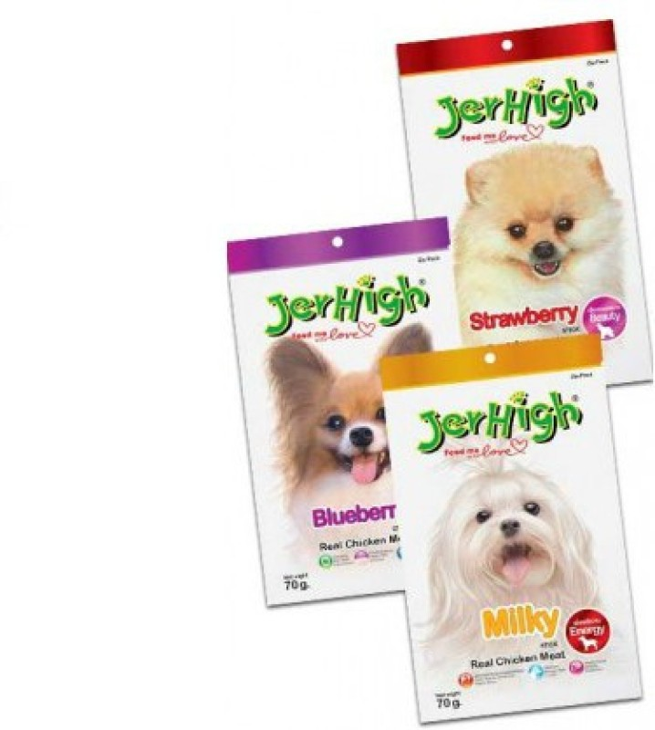 JerHigh Fruit and Milk Stick Combo Fruit, Milk, Chicken Dog Treat(70 g)