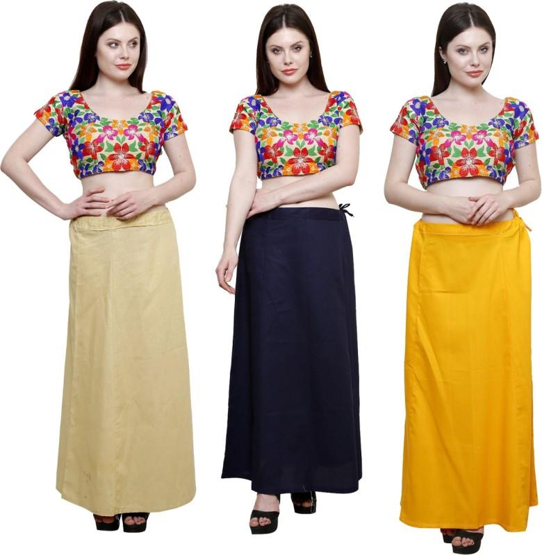 Pistaa Beige, Navy Blue and Mango Yellow Cotton Blend Petticoat(XL)