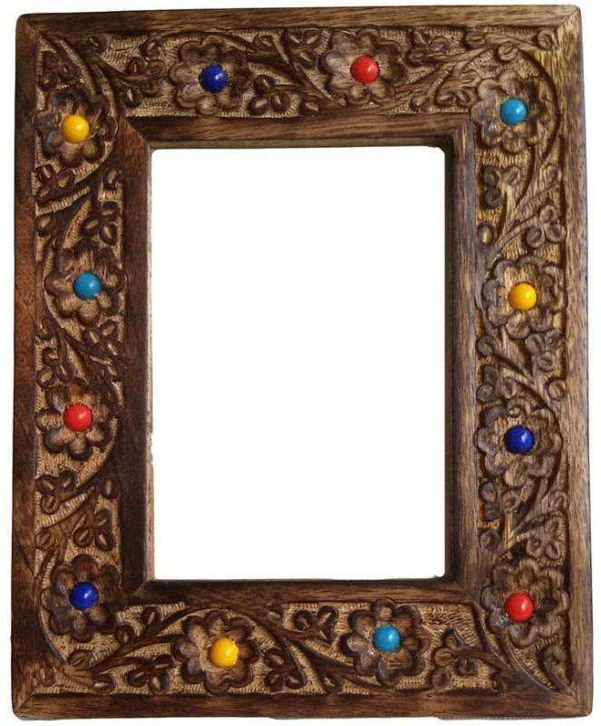 Craftatoz crafted wooden photo frame 6 inch handcrafted(128 MB, Brown)